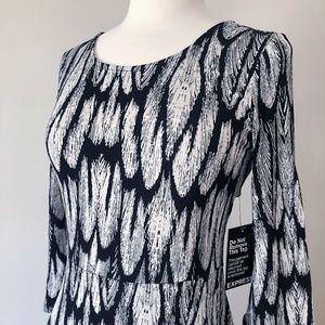EXPRESS • Black & White A-Line Dress